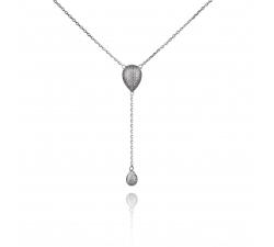 Jednoduchý strieborný náhrdelník s ozdobou so zirkónmi SN098 , AG 925/1000