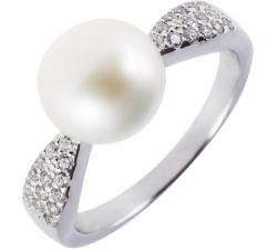 Elegantný strieborný prsteň s perlou a zirkonmi SP13R , AG 925/1000
