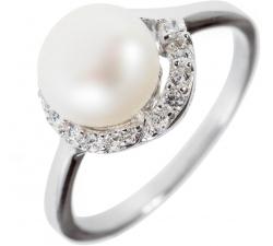 Strieborný prsteň s výraznou perlou a zirkonmi SP15R , AG 925/1000
