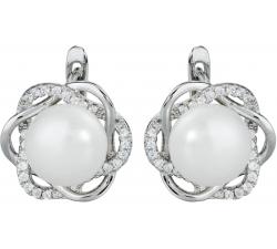 Strieborné náušnice s prírodnou perlou v zirkónovej kvetinke SP19E, AG 925/1000