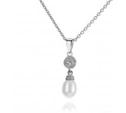 Elegantný strieborný prívesok s perlou a zirkonmi SP33P , AG 925/1000