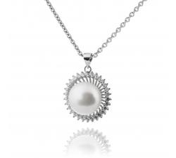 Luxusný strieborný prívesok s veľkou perlou v kytici zo zirkonov SP40P , AG 925/1000