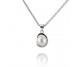 Jemný strieborný prívesok s perlou a zirkonmi SP61P , AG 925/1000