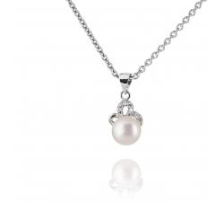 Strieborný prívesok zdobený prírodnou perlou a zirkonmi SP62P , AG 925/1000