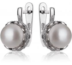 Strieborná náušnice s perlou a zirkónmi   SP74E, AG 925/1000