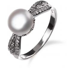 Strieborný prsteň so zirkonmi a perlou SP78R , AG 925/1000