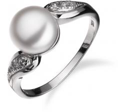 Strieborný prsteň so vzorom a perlou SP90R , AG 925/1000