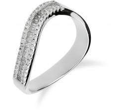 Strieborný prsteň s vlnkou zdobený zirkonmi SR060 , AG 925/1000