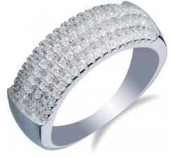 Strieborný prsteň s patimi radami zirkonov SS20R , AG 925/1000