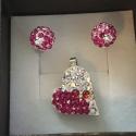 Trblietavá ružová súprava náušnic s príveskom so Swarovski kryštáľmi