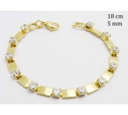 Dámsky zlatý oceľový náramok s kamienkami 23435500