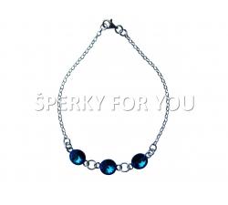 Strieborný náramok Swarovski elements Rivoli modrý Bermude Blue