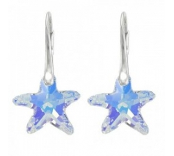 Náušnice Swarovski elements Starfish dúhové crystal AB 20mm