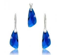 Set šperkov Swarovski elementsv tvare krídla modrý