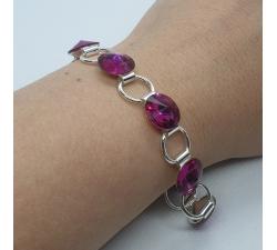 Náramok Swarovski elements 12mm rivoli ružový - fuchsia