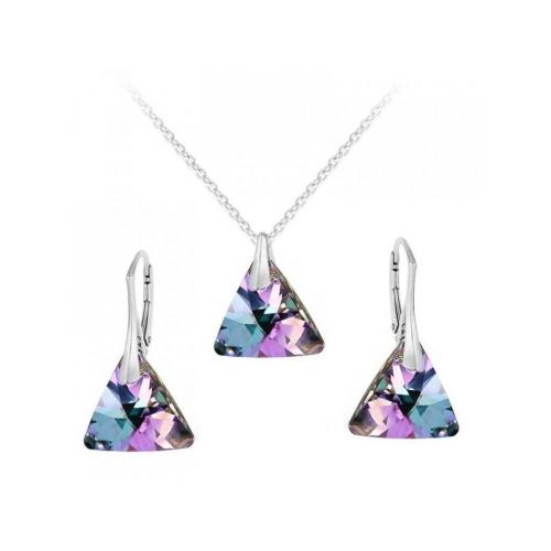 Strieborná súprava Triangle - Swarovski elements fialové Vitrail Light 12mm