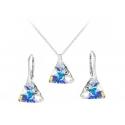 Strieborná súprava Triangle - Swarovski elements crystal ab 12mm