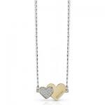 Guess Romantický náhrdelník so spojenými srdiečkami UBN84075