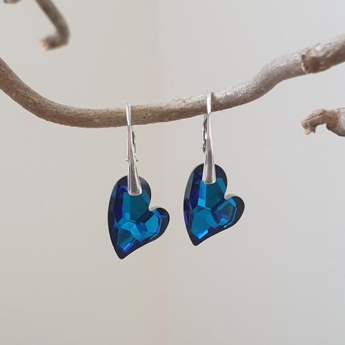 Náušnice Swarovski elements Devoted srdce modré bdermuda blue 17mm